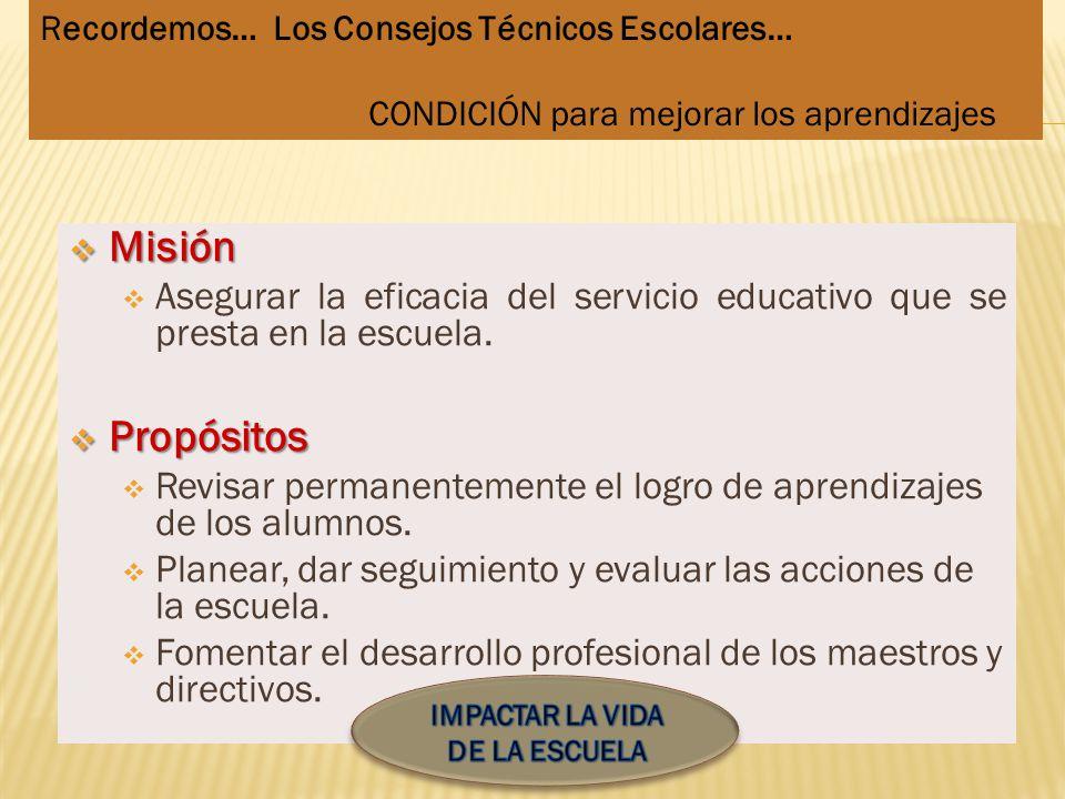 Misión Misión Asegurar la eficacia del servicio educativo que se presta en la escuela. Propósitos Propósitos Revisar permanentemente el logro de apren