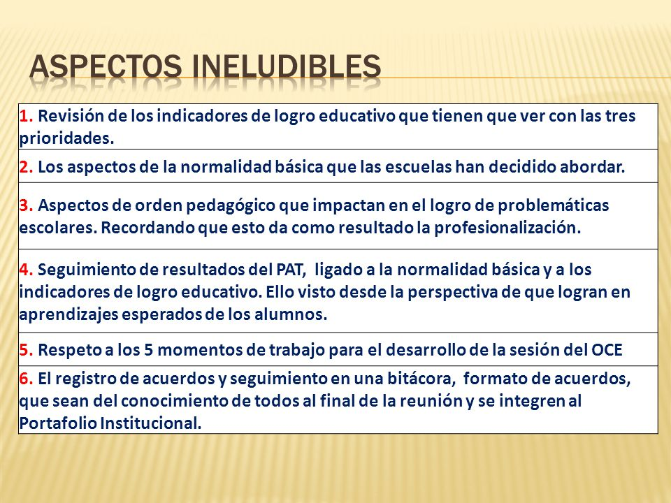 1. Revisión de los indicadores de logro educativo que tienen que ver con las tres prioridades. 2. Los aspectos de la normalidad básica que las escuela
