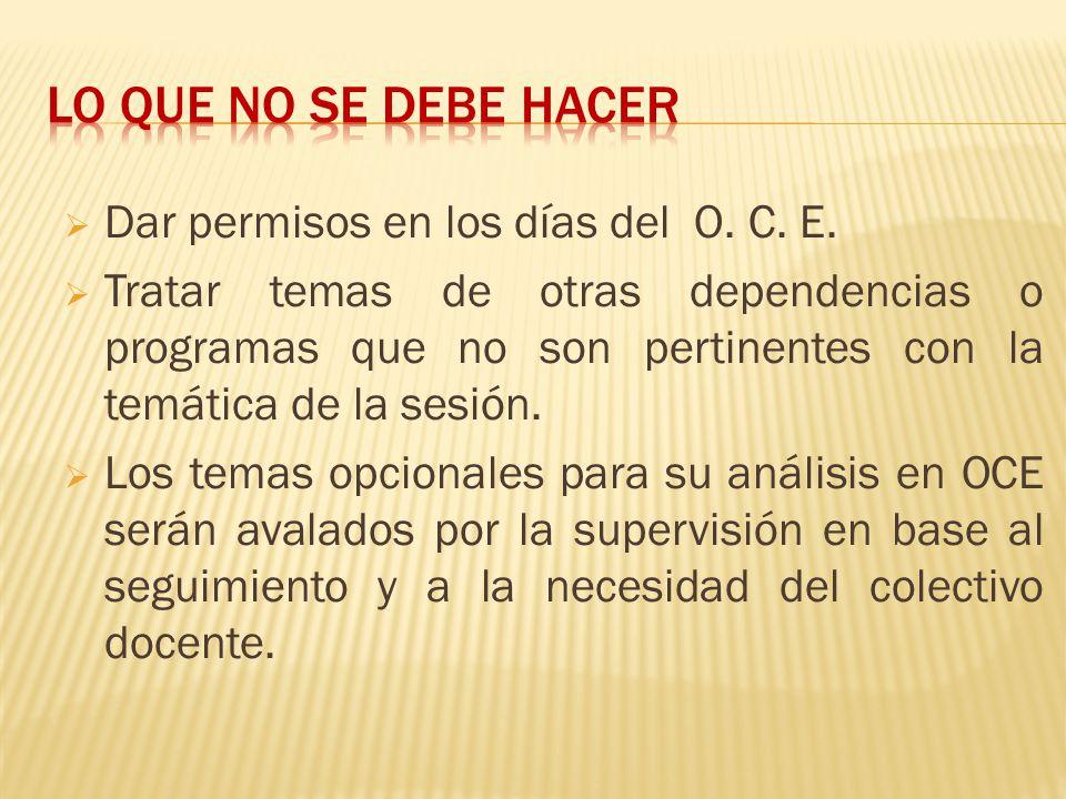 Dar permisos en los días del O. C. E. Tratar temas de otras dependencias o programas que no son pertinentes con la temática de la sesión. Los temas op