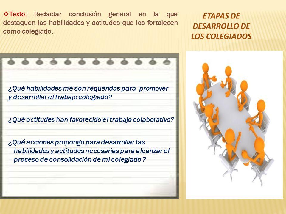 ¿Qué habilidades me son requeridas para promover y desarrollar el trabajo colegiado? ¿Qué actitudes han favorecido el trabajo colaborativo? ¿Qué accio