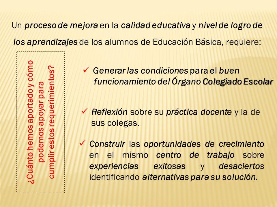 Un proceso de mejora en la calidad educativa y nivel de logro de los aprendizajes de los alumnos de Educación Básica, requiere: Generar las condicione
