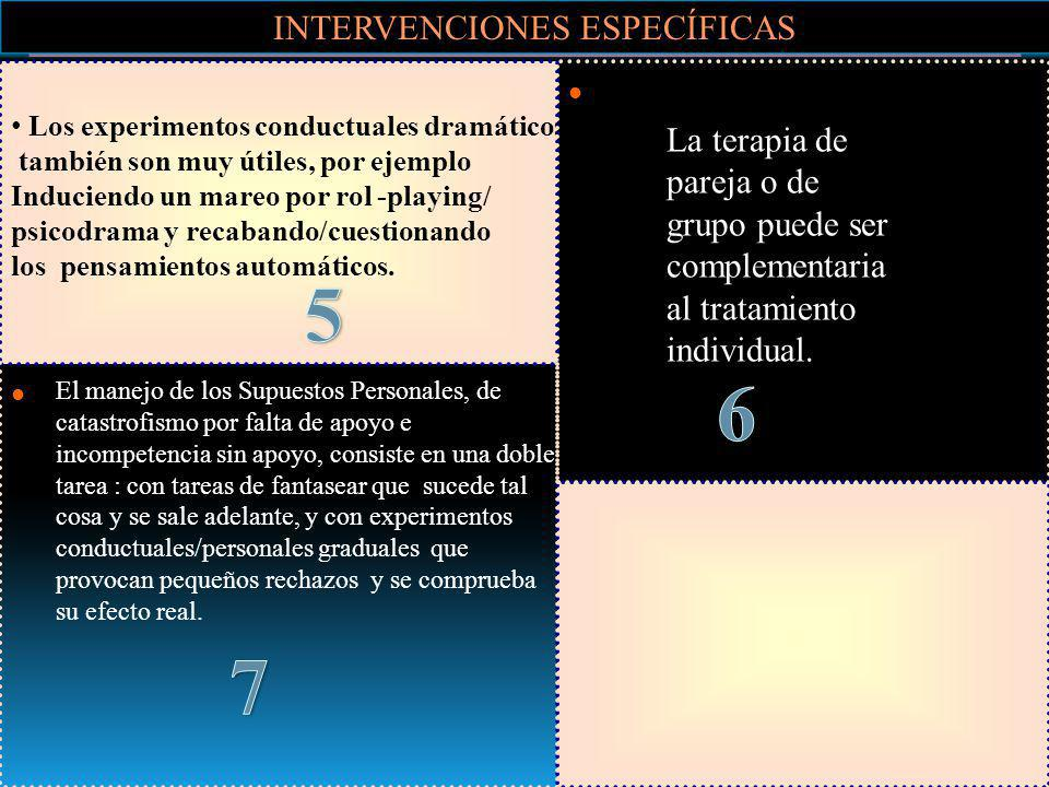 INTERVENCIONES ESPECÍFICAS Se puede usar el estilo dramático del paciente, p.e la externalización de voces, donde el terapeuta habla como los pensamie