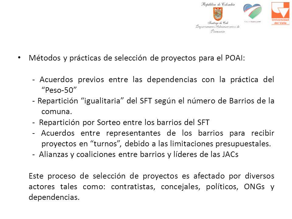 Métodos y prácticas de selección de proyectos para el POAI: - Acuerdos previos entre las dependencias con la práctica del Peso-50 - Repartición igualitaria del SFT según el número de Barrios de la comuna.
