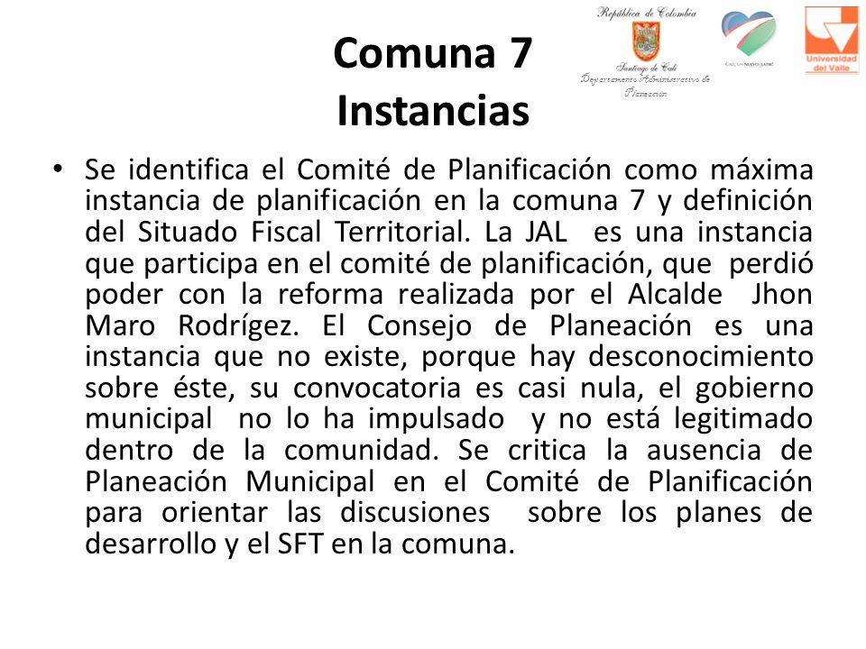 Comuna 7 Instancias Se identifica el Comité de Planificación como máxima instancia de planificación en la comuna 7 y definición del Situado Fiscal Ter