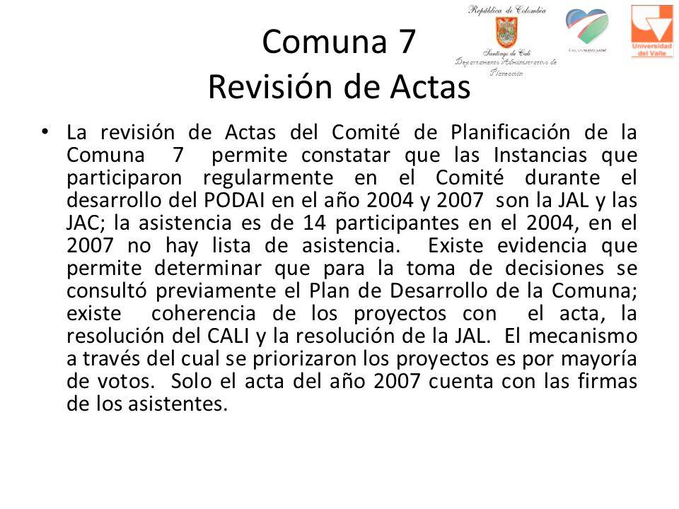 Comuna 7 Revisión de Actas La revisión de Actas del Comité de Planificación de la Comuna 7 permite constatar que las Instancias que participaron regularmente en el Comité durante el desarrollo del PODAI en el año 2004 y 2007 son la JAL y las JAC; la asistencia es de 14 participantes en el 2004, en el 2007 no hay lista de asistencia.