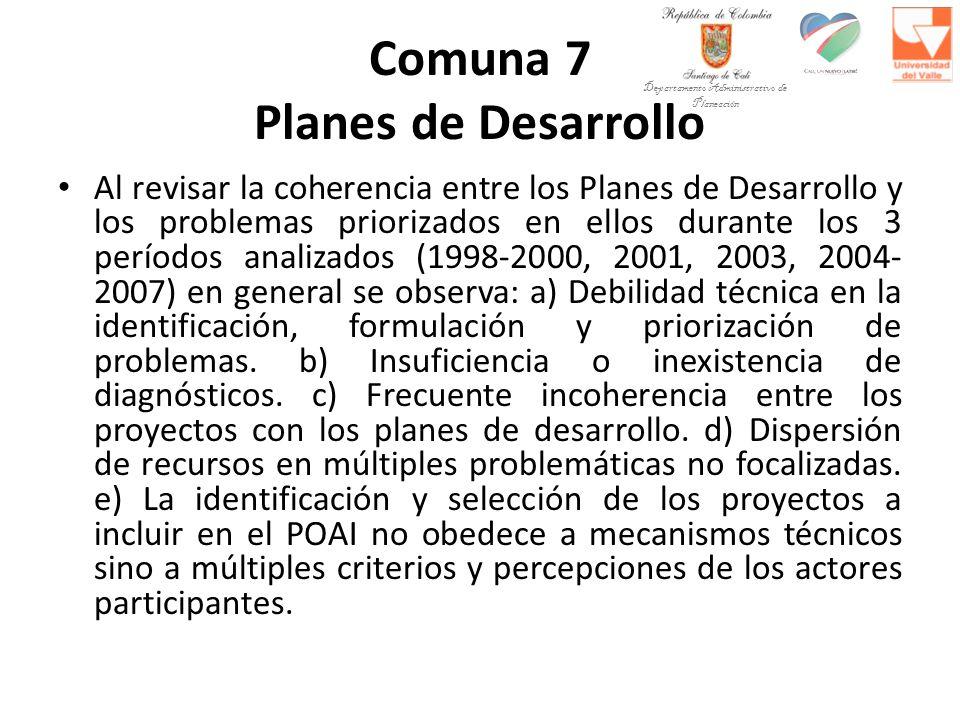 Comuna 7 Planes de Desarrollo Al revisar la coherencia entre los Planes de Desarrollo y los problemas priorizados en ellos durante los 3 períodos analizados (1998-2000, 2001, 2003, 2004- 2007) en general se observa: a) Debilidad técnica en la identificación, formulación y priorización de problemas.