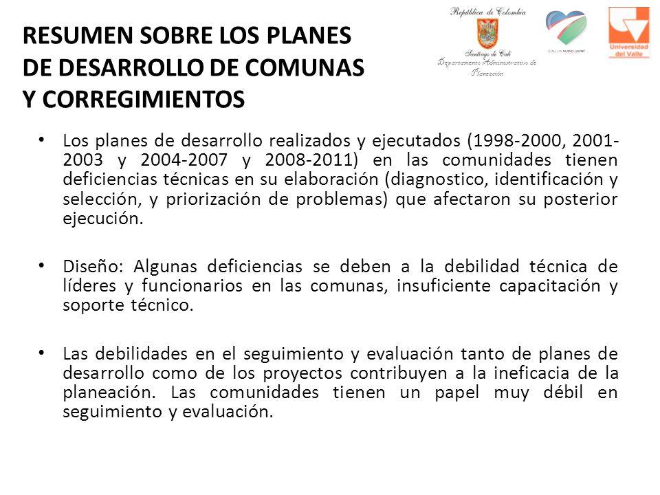 RESUMEN SOBRE LOS PLANES DE DESARROLLO DE COMUNAS Y CORREGIMIENTOS Los planes de desarrollo realizados y ejecutados (1998-2000, 2001- 2003 y 2004-2007