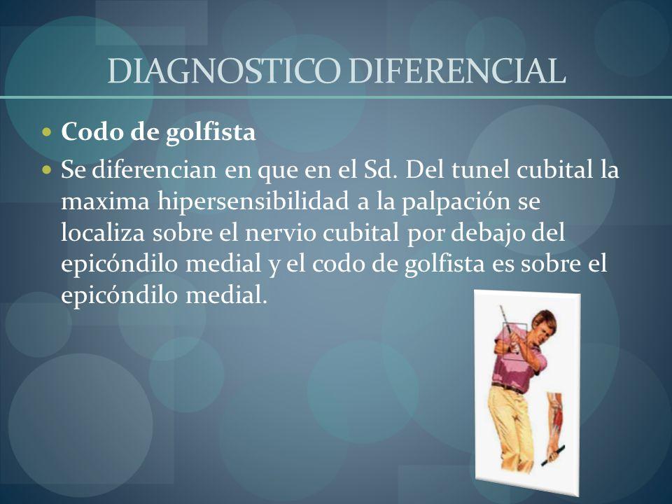 DIAGNOSTICO DIFERENCIAL Codo de golfista Se diferencian en que en el Sd. Del tunel cubital la maxima hipersensibilidad a la palpación se localiza sobr