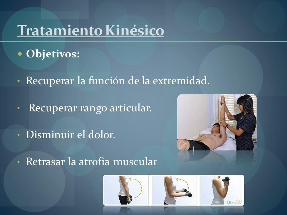 Tratamiento Kinésico Objetivos: Recuperar la función de la extremidad. Recuperar rango articular. Disminuir el dolor. Retrasar la atrofia muscular