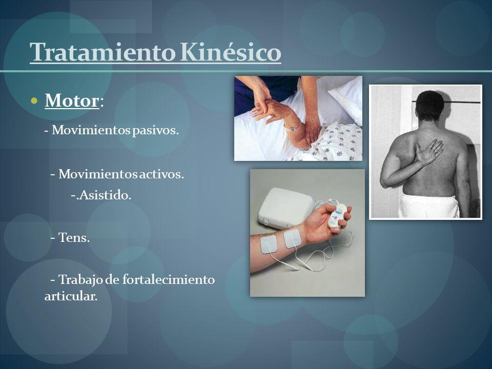 Tratamiento Kinésico Motor: - Movimientos pasivos. - Movimientos activos. -.Asistido. - Tens. - Trabajo de fortalecimiento articular.
