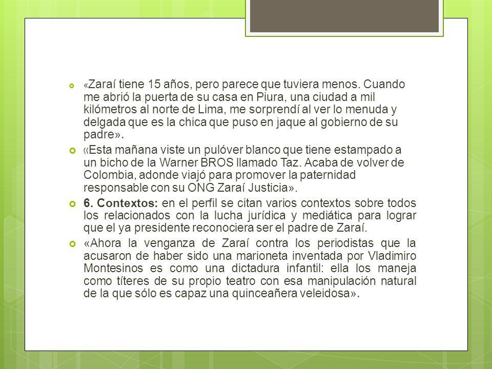 « Zaraí tiene 15 años, pero parece que tuviera menos.