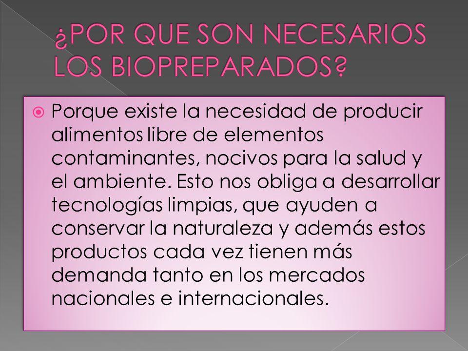 Porque existe la necesidad de producir alimentos libre de elementos contaminantes, nocivos para la salud y el ambiente. Esto nos obliga a desarrollar