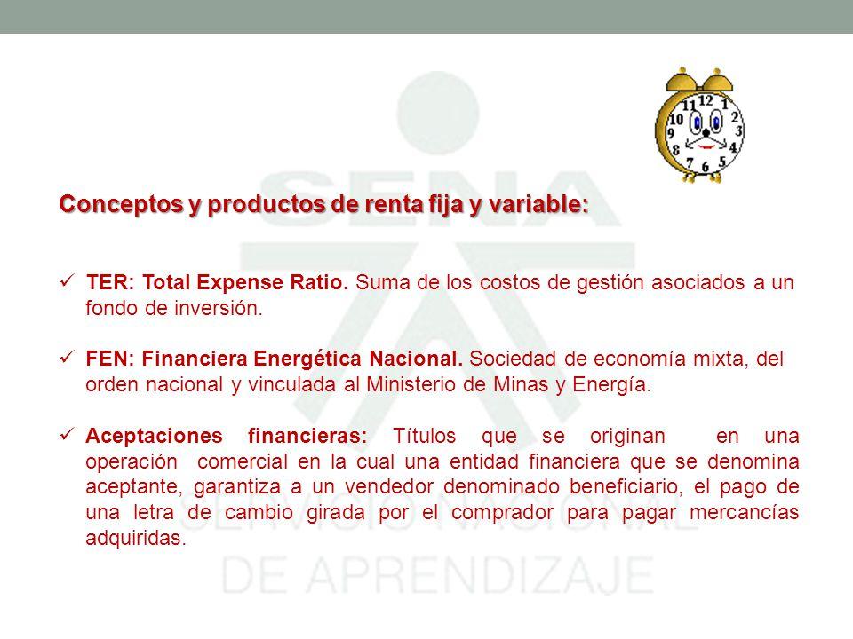 Conceptos y productos de renta fija y variable: TER: Total Expense Ratio.