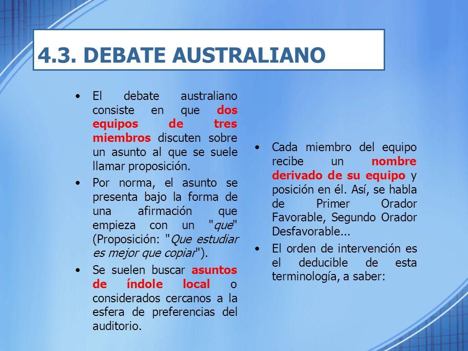 4.3. DEBATE AUSTRALIANO El debate australiano consiste en que dos equipos de tres miembros discuten sobre un asunto al que se suele llamar proposición