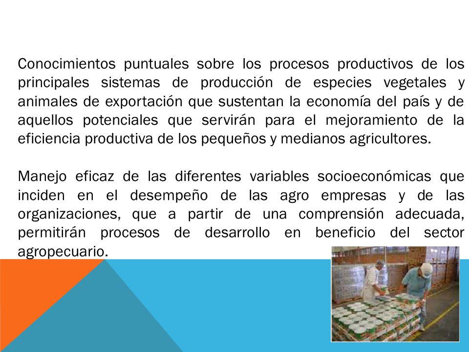 Conocimientos puntuales sobre los procesos productivos de los principales sistemas de producción de especies vegetales y animales de exportación que s