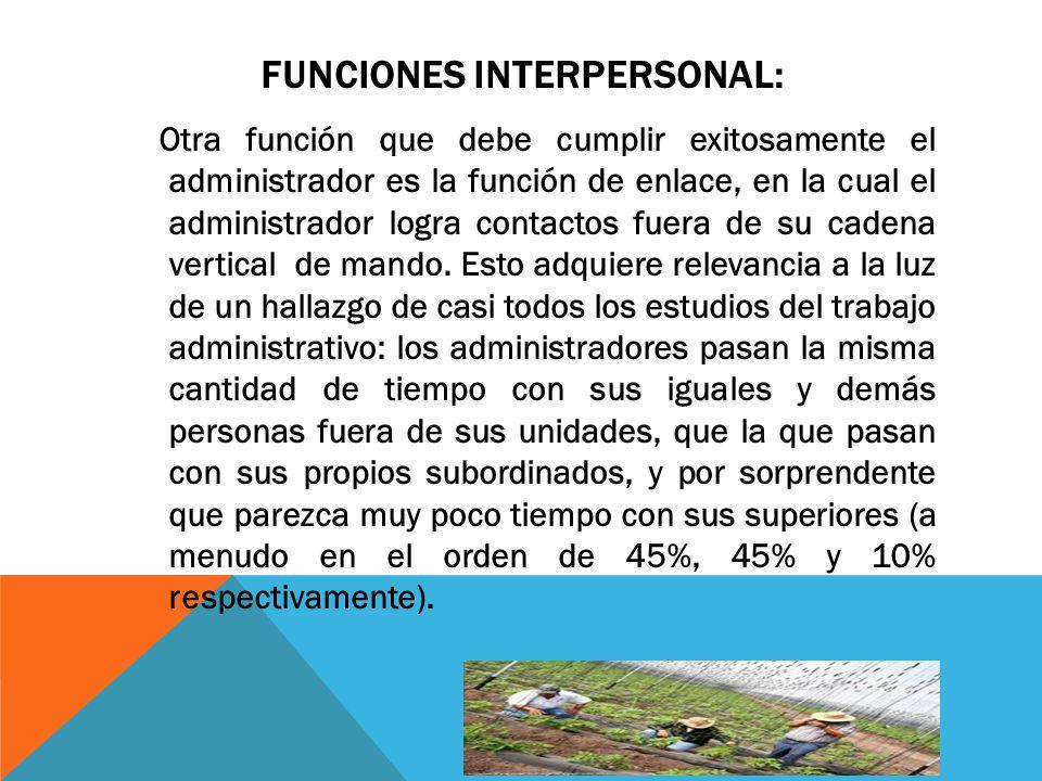 FUNCIONES INTERPERSONAL: Otra función que debe cumplir exitosamente el administrador es la función de enlace, en la cual el administrador logra contac