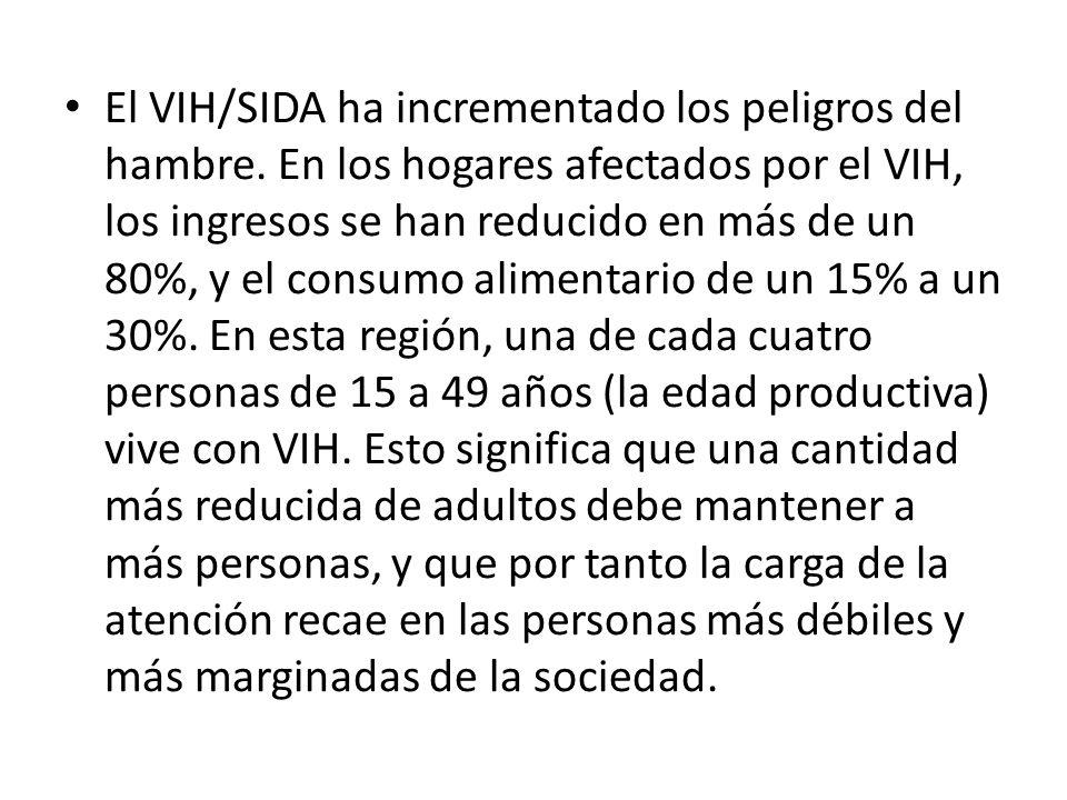 El VIH/SIDA ha incrementado los peligros del hambre. En los hogares afectados por el VIH, los ingresos se han reducido en más de un 80%, y el consumo