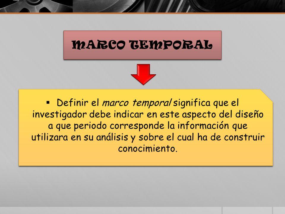MARCO TEMPORAL Definir el marco temporal significa que el investigador debe indicar en este aspecto del diseño a que periodo corresponde la información que utilizara en su análisis y sobre el cual ha de construir conocimiento.