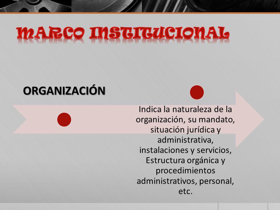 ORGANIZACIÓN Indica la naturaleza de la organización, su mandato, situación jurídica y administrativa, instalaciones y servicios, Estructura orgánica y procedimientos administrativos, personal, etc.