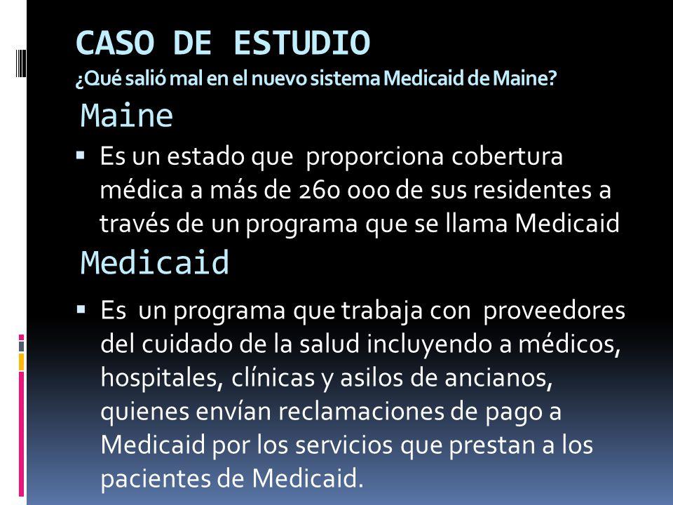 Medicaid Es un estado que proporciona cobertura médica a más de 260 000 de sus residentes a través de un programa que se llama Medicaid Maine Es un pr