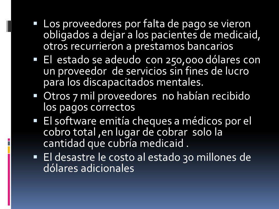 Los proveedores por falta de pago se vieron obligados a dejar a los pacientes de medicaid, otros recurrieron a prestamos bancarios El estado se adeudo