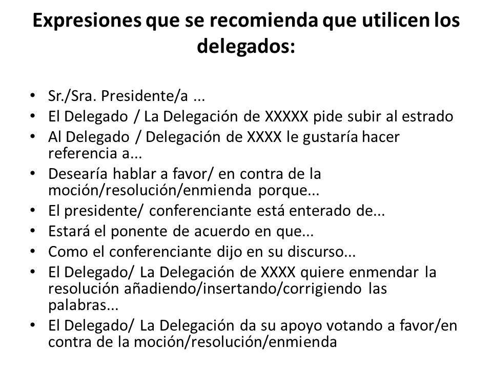 Expresiones que se recomienda que utilicen los delegados: Sr./Sra. Presidente/a... El Delegado / La Delegación de XXXXX pide subir al estrado Al Deleg