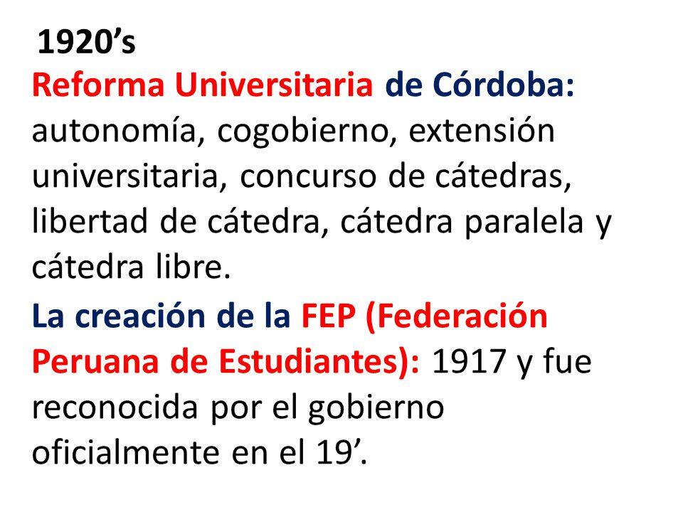 Reforma Universitaria de Córdoba: autonomía, cogobierno, extensión universitaria, concurso de cátedras, libertad de cátedra, cátedra paralela y cátedra libre.