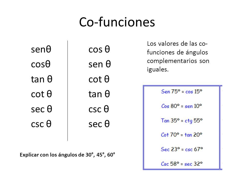 Co-funciones senθ cosθ tan θ cot θ sec θ csc θ cos θ sen θ cot θ tan θ csc θ sec θ Los valores de las co- funciones de ángulos complementarios son igu