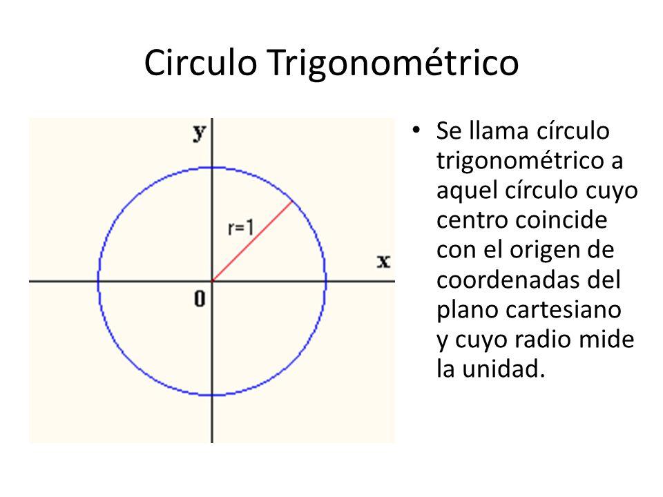 Circulo Trigonométrico Se llama círculo trigonométrico a aquel círculo cuyo centro coincide con el origen de coordenadas del plano cartesiano y cuyo r