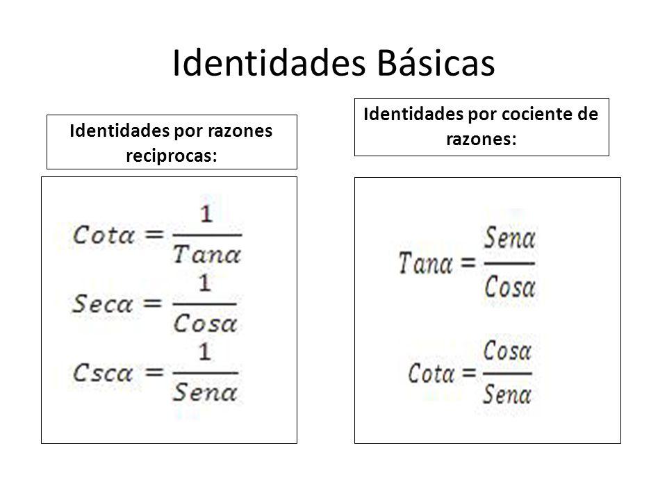 Identidades Básicas Identidades por razones reciprocas: Identidades por cociente de razones: