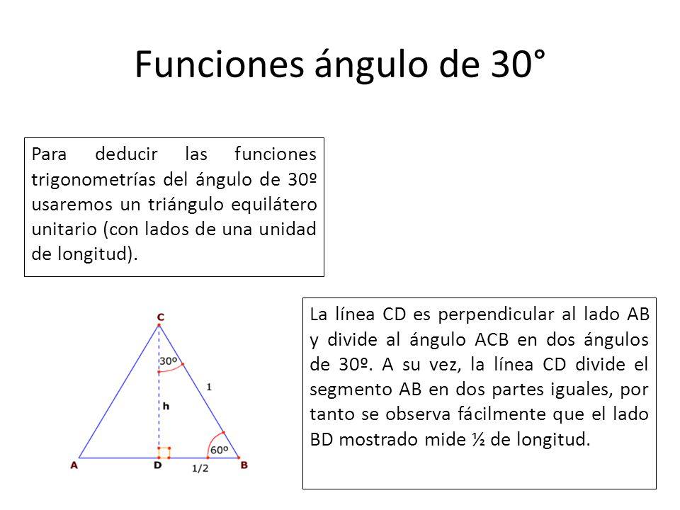 Funciones ángulo de 30° Para deducir las funciones trigonometrías del ángulo de 30º usaremos un triángulo equilátero unitario (con lados de una unidad