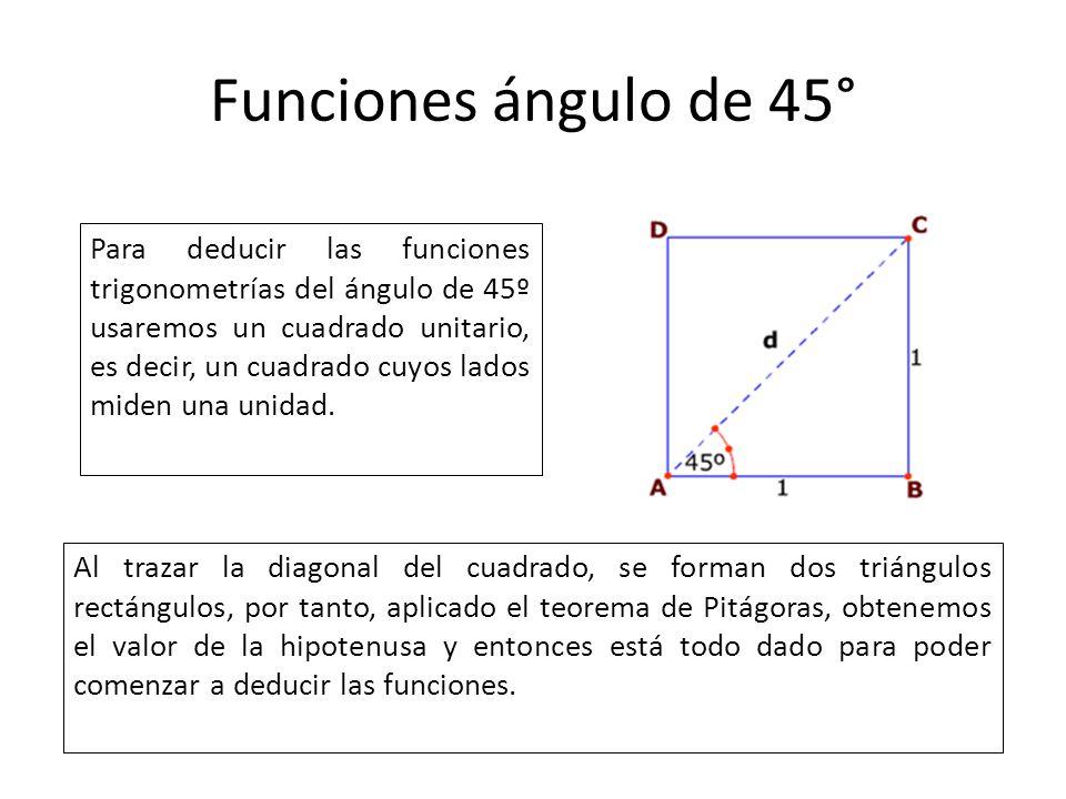 Funciones ángulo de 45° Para deducir las funciones trigonometrías del ángulo de 45º usaremos un cuadrado unitario, es decir, un cuadrado cuyos lados m