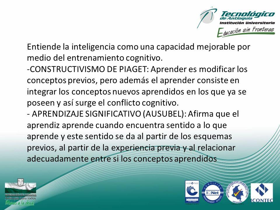 Entiende la inteligencia como una capacidad mejorable por medio del entrenamiento cognitivo. -CONSTRUCTIVISMO DE PIAGET: Aprender es modificar los con