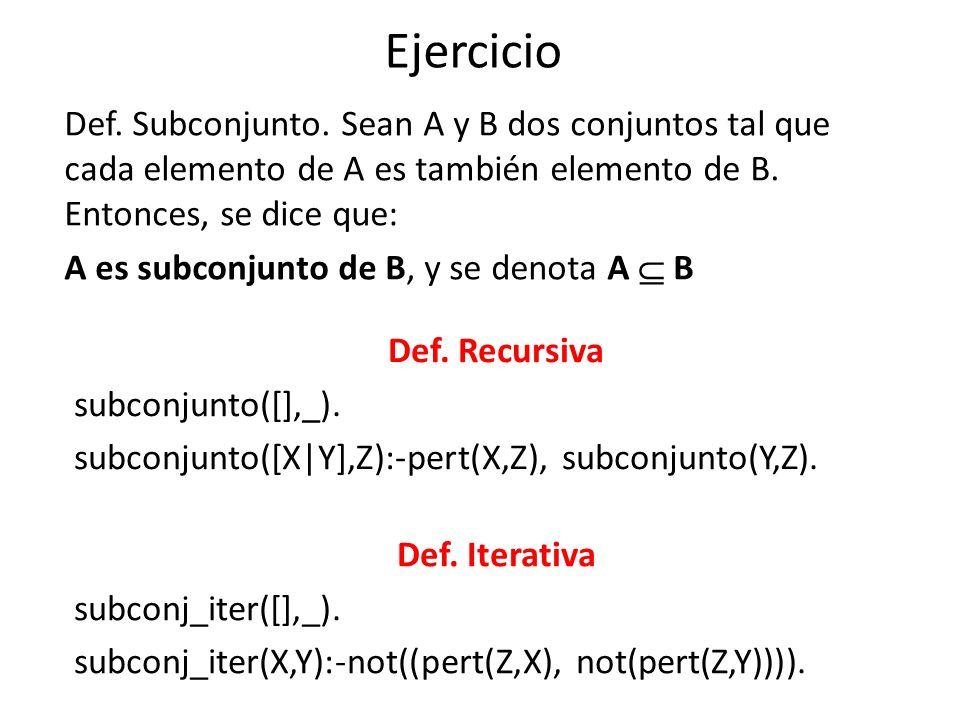 Otra ver.de Subconjunto subconjunto([],[]). subconjunto([X|L1],[X|L2]):-subconjunto(L1,L2).