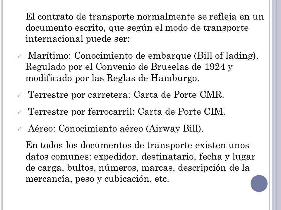 El contrato de transporte normalmente se refleja en un documento escrito, que según el modo de transporte internacional puede ser: Marítimo: Conocimiento de embarque (Bill of lading).