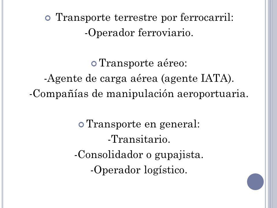 Transporte terrestre por ferrocarril: -Operador ferroviario. Transporte aéreo: -Agente de carga aérea (agente IATA). -Compañías de manipulación aeropo