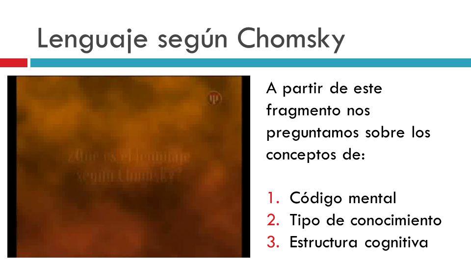 Lenguaje según Chomsky A partir de este fragmento nos preguntamos sobre los conceptos de: 1.Código mental 2.Tipo de conocimiento 3.Estructura cognitiv