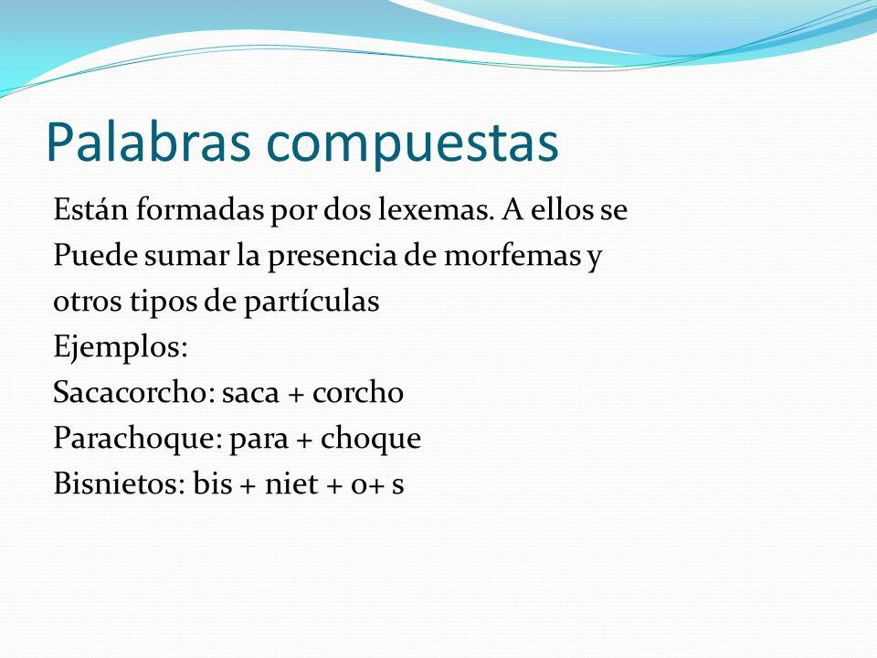 Palabras compuestas Están formadas por dos lexemas. A ellos se Puede sumar la presencia de morfemas y otros tipos de partículas Ejemplos: Sacacorcho: