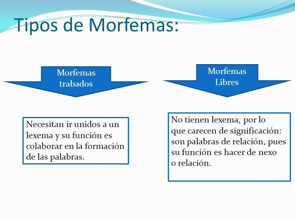 Tipos de Morfemas: Morfemas trabados Morfemas Libres Necesitan ir unidos a un lexema y su función es colaborar en la formación de las palabras.