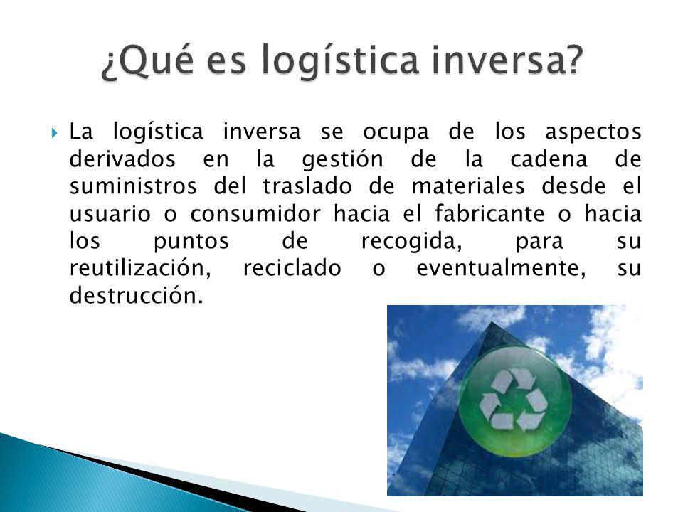 La logística inversa se ocupa de los aspectos derivados en la gestión de la cadena de suministros del traslado de materiales desde el usuario o consum