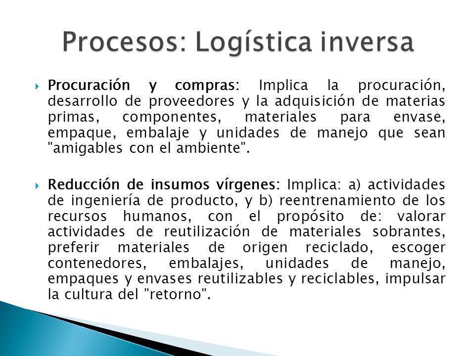 Procuración y compras: Implica la procuración, desarrollo de proveedores y la adquisición de materias primas, componentes, materiales para envase, empaque, embalaje y unidades de manejo que sean amigables con el ambiente .