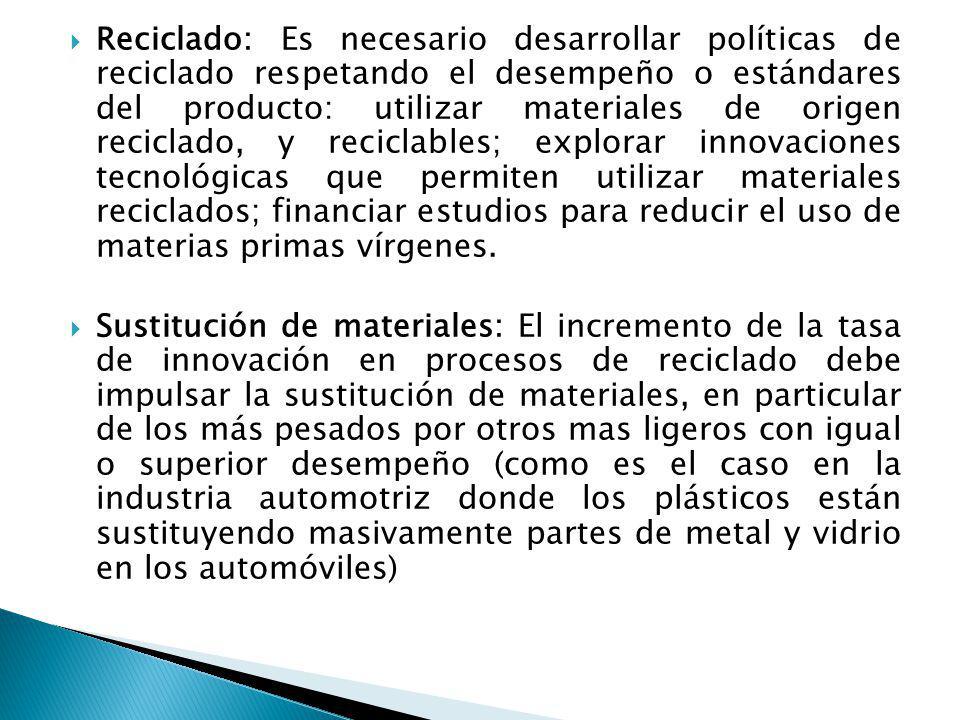 Reciclado: Es necesario desarrollar políticas de reciclado respetando el desempeño o estándares del producto: utilizar materiales de origen reciclado,