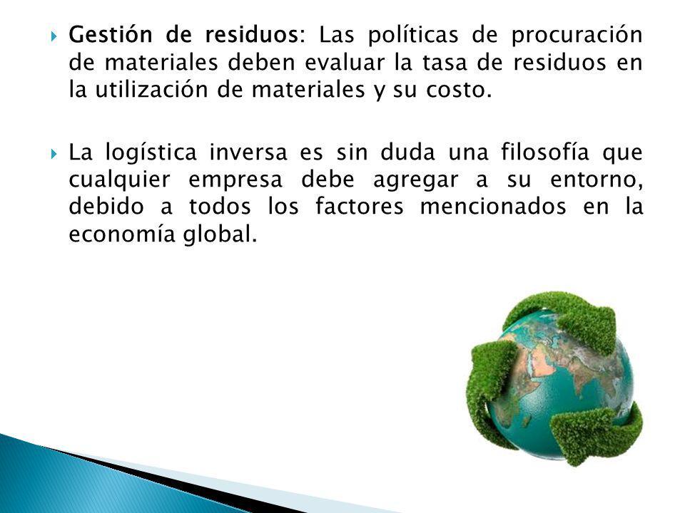 Gestión de residuos: Las políticas de procuración de materiales deben evaluar la tasa de residuos en la utilización de materiales y su costo. La logís
