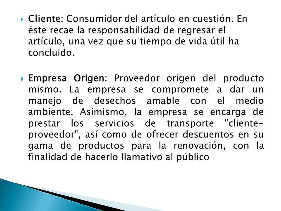 Cliente: Consumidor del artículo en cuestión. En éste recae la responsabilidad de regresar el artículo, una vez que su tiempo de vida útil ha concluid