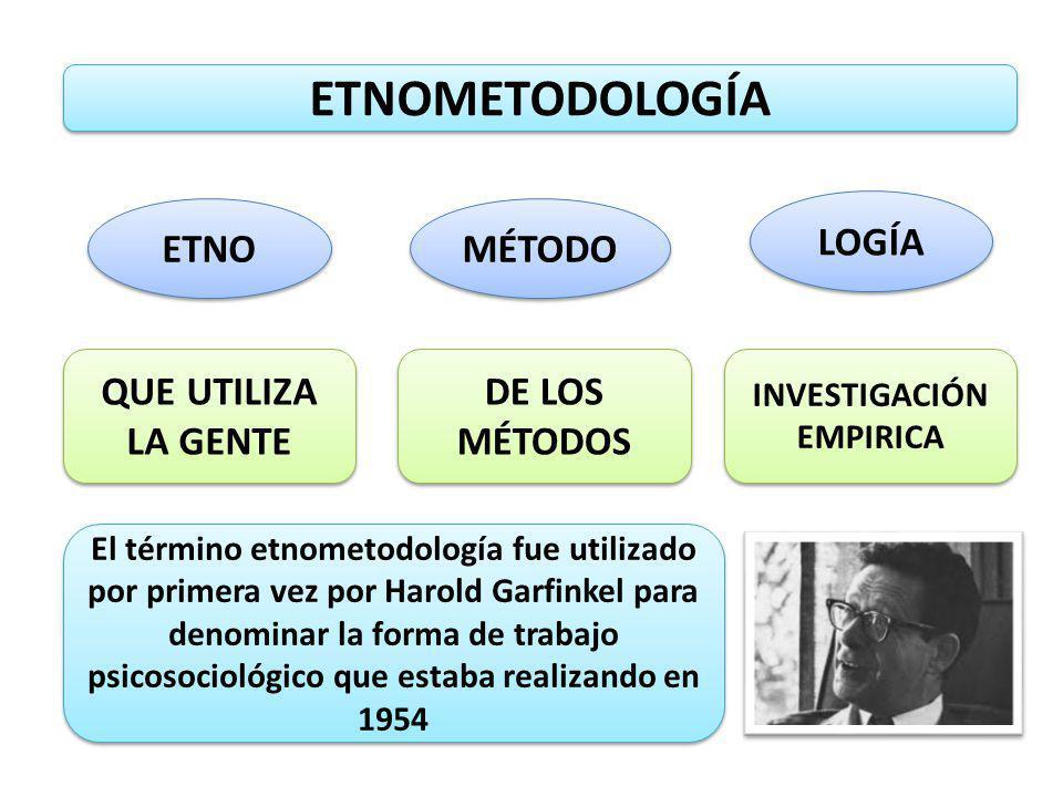 ETNOMETODOLOGÍA La etnometodología es una corriente filosófica y sociológica que pretende describir el mundo social tal y como se está continuamente construyendo, emergiendo como realidad objetiva, ordenada, inteligible y familiar.