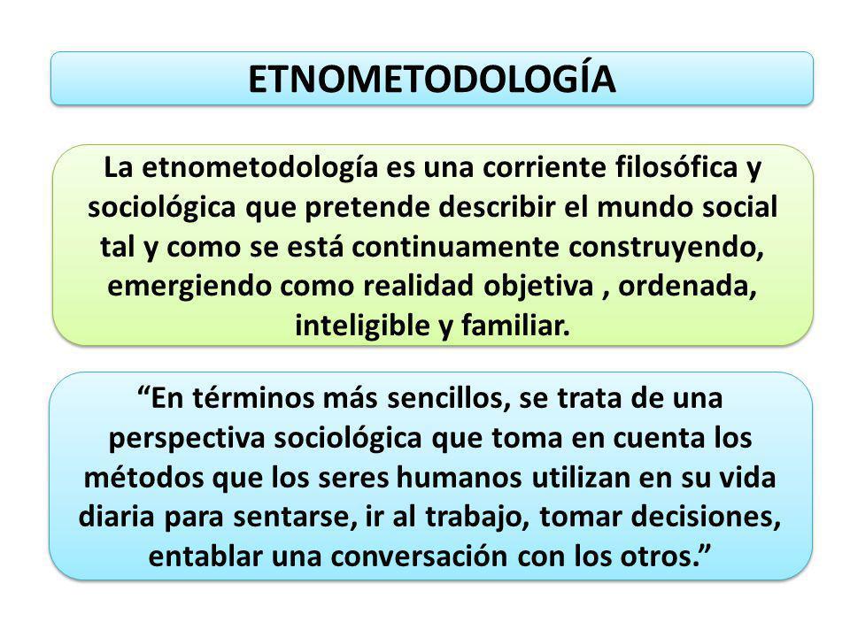ETNOMETODOLOGÍA La etnometodología es una corriente filosófica y sociológica que pretende describir el mundo social tal y como se está continuamente c