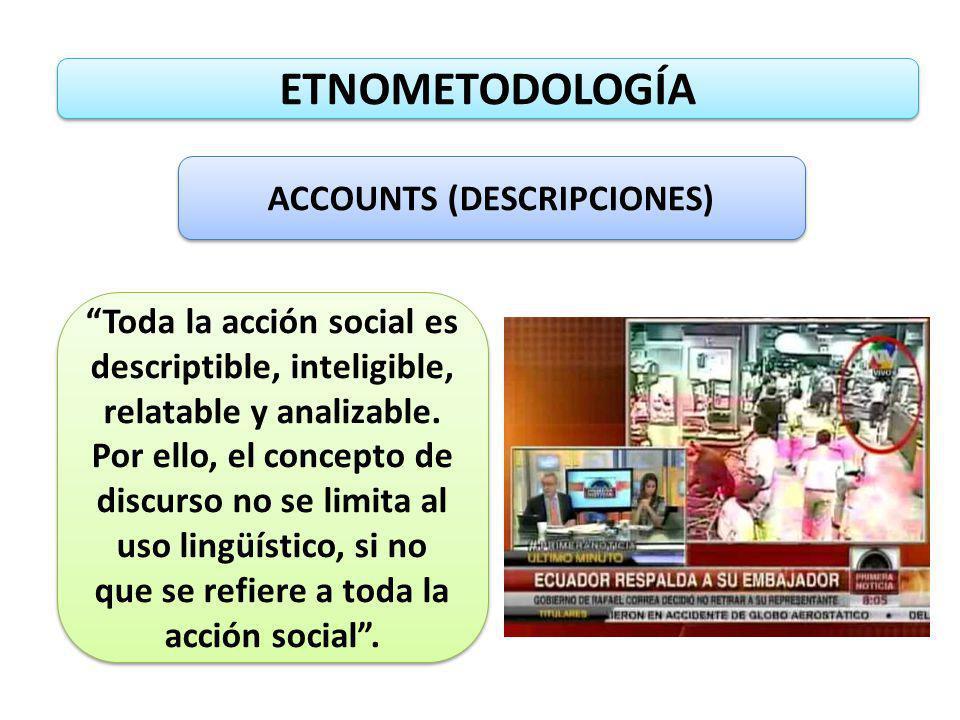ETNOMETODOLOGÍA ACCOUNTS (DESCRIPCIONES) Toda la acción social es descriptible, inteligible, relatable y analizable. Por ello, el concepto de discurso
