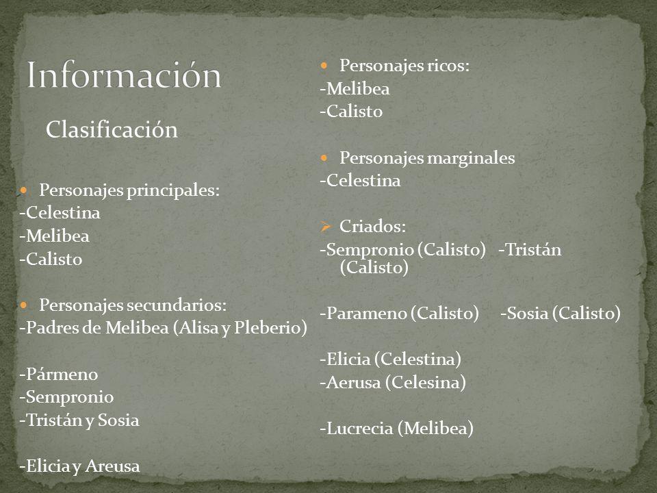 Clasificación Personajes principales: -Celestina -Melibea -Calisto Personajes secundarios: -Padres de Melibea (Alisa y Pleberio) -Pármeno -Sempronio -