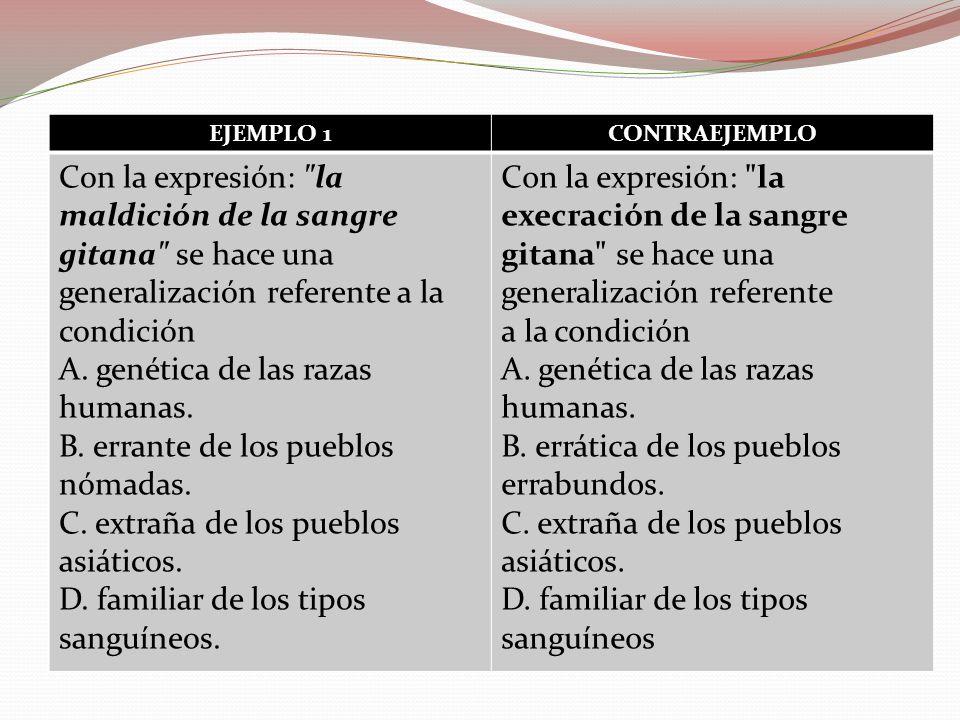EJEMPLO 1CONTRAEJEMPLO Con la expresión: la maldición de la sangre gitana se hace una generalización referente a la condición A.