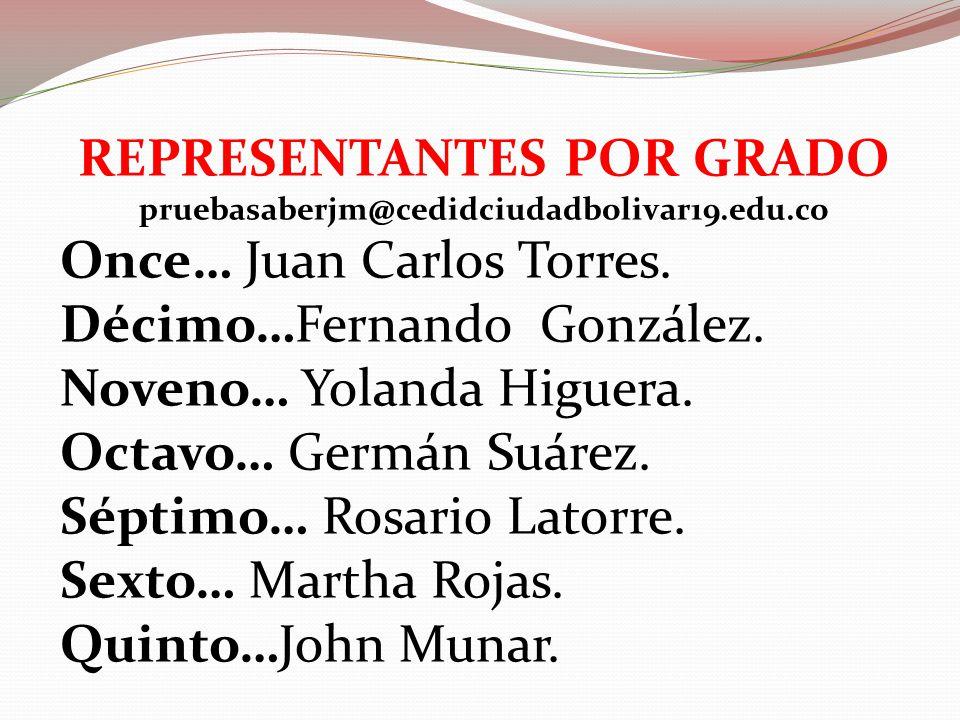 REPRESENTANTES POR GRADO pruebasaberjm@cedidciudadbolivar19.edu.co Once… Juan Carlos Torres.
